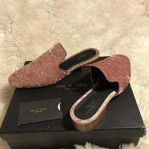 Rag & Bone women's pink velvet mules